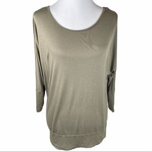 Marty M Scoop Neck 3/4 Inch Sleeves Top, Green, XL
